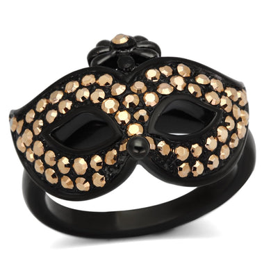 TK981 IP Black(Ion Plating) Stainless Steel Ring with Top Grade Crystal in Metallic Light Gold