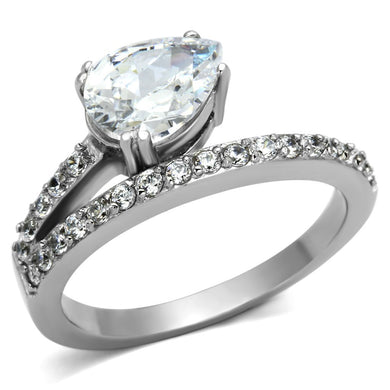 TK998 - High polished (no plating) Stainless Steel Ring with AAA Grade CZ  in Clear