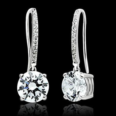 TS052 - Rhodium 925 Sterling Silver Earrings with AAA Grade CZ  in Clear