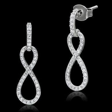 TS067 - Rhodium 925 Sterling Silver Earrings with AAA Grade CZ  in Clear