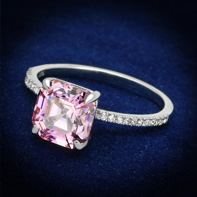 TS179 Rhodium 925 Sterling Silver Ring with Cubic in Rose