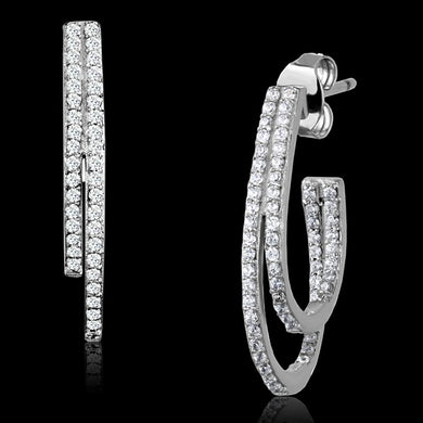 TS293 - Rhodium 925 Sterling Silver Earrings with AAA Grade CZ  in Clear