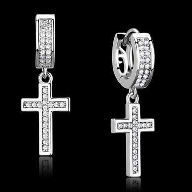 TS295 Rhodium 925 Sterling Silver Earrings with AAA Grade CZ in Clear