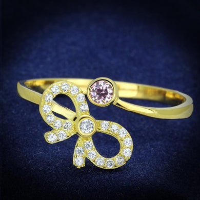 TS309 - Gold 925 Sterling Silver Ring with AAA Grade CZ  in Rose