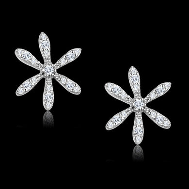 TS444 Rhodium 925 Sterling Silver Earrings with AAA Grade CZ in Clear