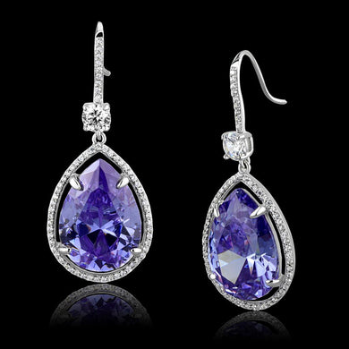 TS477 - Rhodium 925 Sterling Silver Earrings with AAA Grade CZ  in Light Amethyst