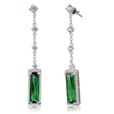 TS478 Rhodium 925 Sterling Silver Earrings with AAA Grade CZ in Emerald