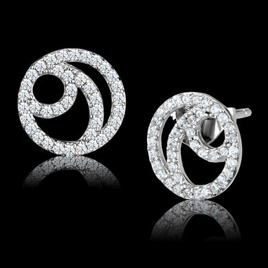 TS511 - Rhodium 925 Sterling Silver Earrings with AAA Grade CZ  in Clear