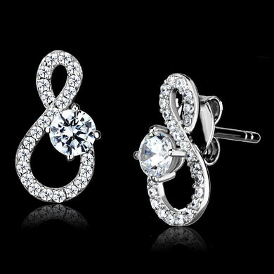 TS529 - Rhodium 925 Sterling Silver Earrings with AAA Grade CZ  in Clear