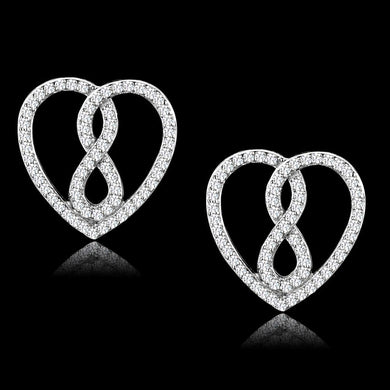 TS549 - Rhodium 925 Sterling Silver Earrings with AAA Grade CZ  in Clear