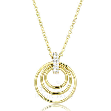 TS601 Gold 925 Sterling Silver Necklace with AAA Grade CZ in Clear
