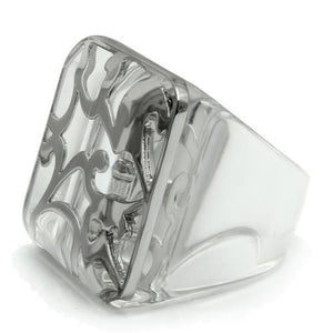 VL012 Rhodium Brass Ring with Synthetic in Clear