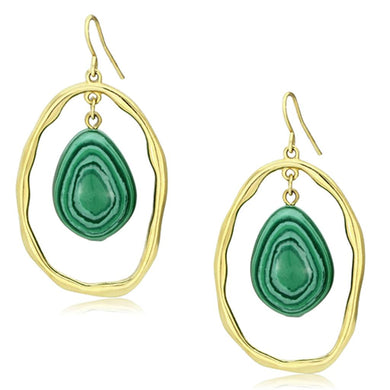 VL072 - IP Gold(Ion Plating) Brass Earrings with Synthetic MALACHITE in Turquoise