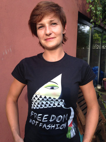Freedom not Fashion ladies t-shirt (black Gildan soft style ringspun lady fit)