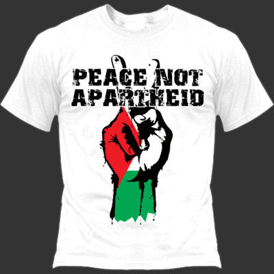Peace not Apartheid t-shirt (white Gildan soft style ringspun)