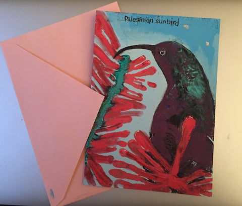 Individually hand-printed Palestine Sunbird Christmas Cards (5 pack)