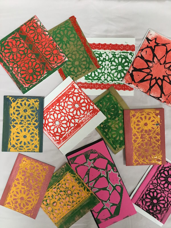 Individually hand-printed Middle-eastern Mosaic Christmas Cards (5 pack)
