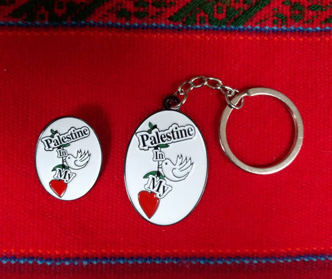 Palestine in my Heart Key Ring and Badge