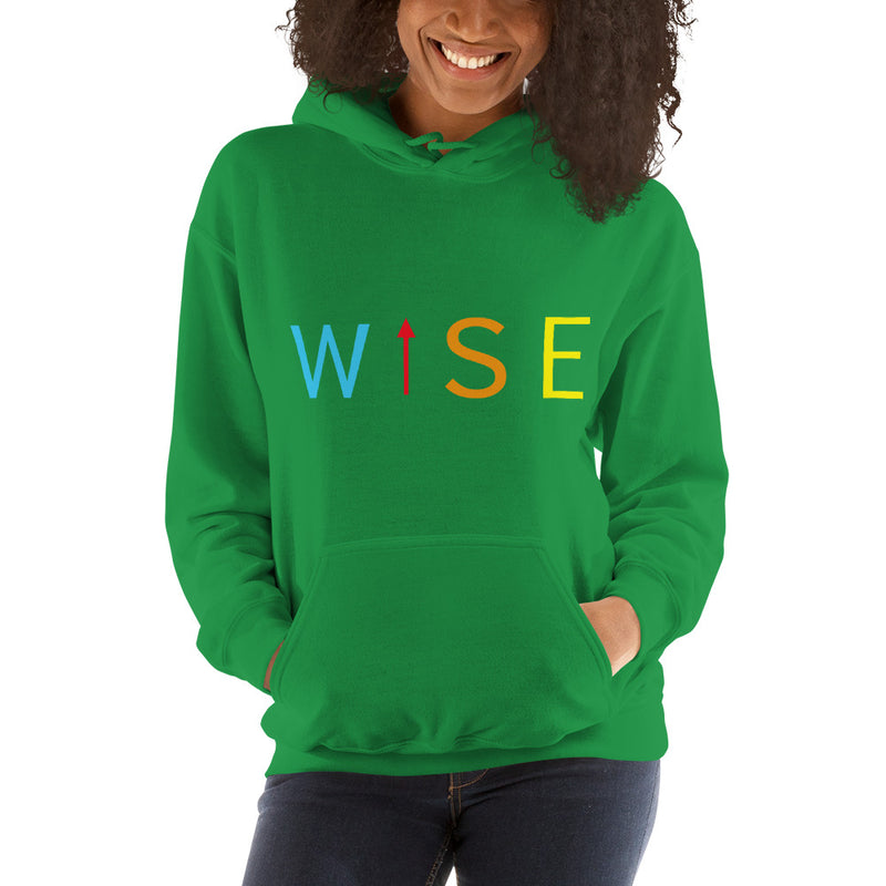 Colorful WISE UP Women's Hooded Sweatshirt-THE WISE VISIONS