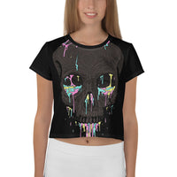 Skull Paintball Women's Crop Tee-THE WISE VISIONS