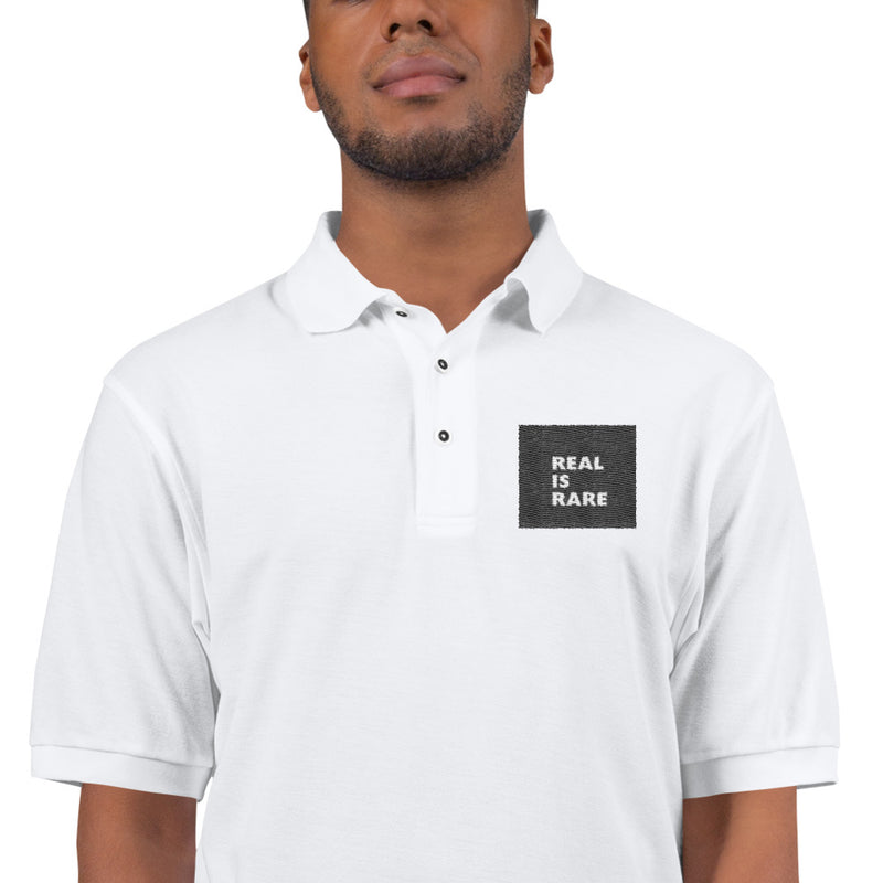 Real Is Rare Logo Men's Premium Polo-THE WISE VISIONS