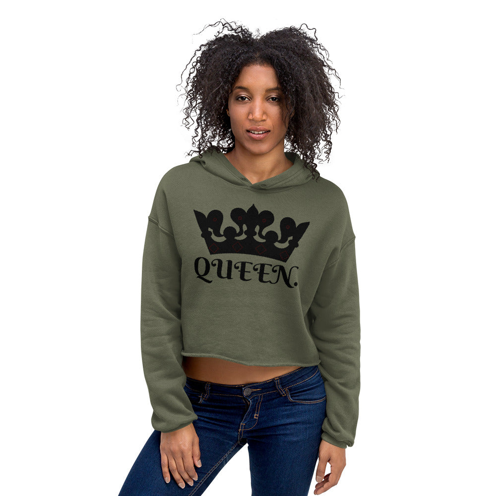 QUEEN Women's Crop Hoodie-THE WISE VISIONS