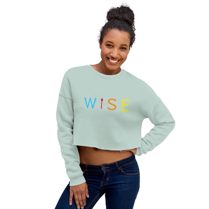 Colorful WISE UP Women's Crop Sweatshirt-THE WISE VISIONS