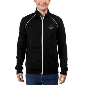 Put Yourself On Men's Piped Fleece Jacket-THE WISE VISIONS