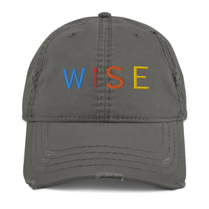 Colorful WISE UP Distressed Dad Hat-THE WISE VISIONS