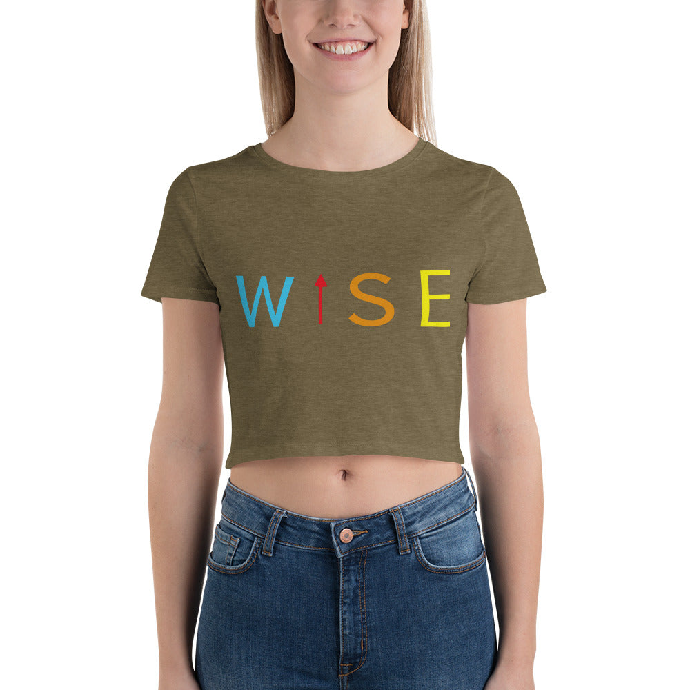 Colorful WISE UP Women's Crop Tee-THE WISE VISIONS