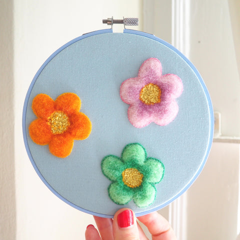 Coiffed Merino Daisies - Hand embroidered and needle felted art