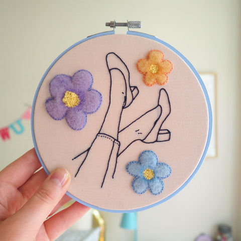 Falling through Daisies - Needle felted and hand embroidered art