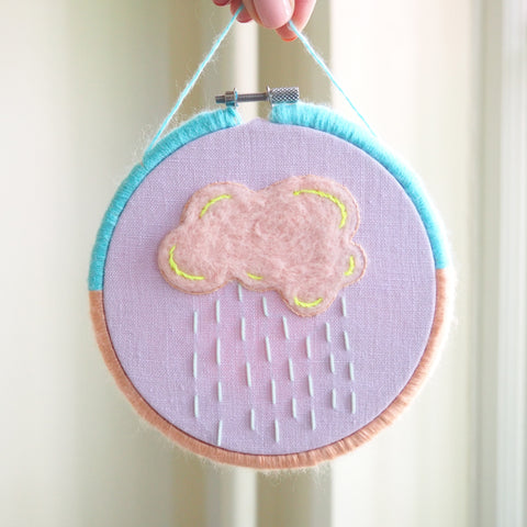 dearest-q - Pink  Rain Cloud - framed hand embroidered and fibre wrapped art - Dearest Q - Hand embroidered art