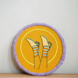 dearest-q - Feet in the air - fibre wrapped embroidery on linen - Dearest Q - Hand embroidered art