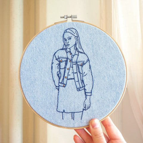 Vintage Denim - Hand Embroidered Art