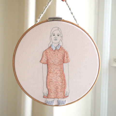 Woman Standing in a Dusty Rose Dress - Hand Embroidered Art