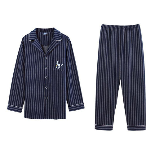 <b>Blue Stripes</b><br>cotton long sleeve pajamas set with pocket EN72101