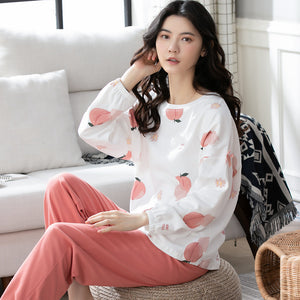 <b>Peach Cocktail</b><br>cotton long sleeve pajamas set for women EN8001