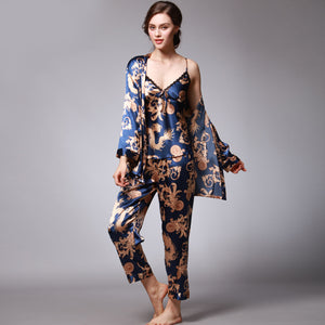 <b>Florence Nights</b><br>satin 3 piece pajamas set EN013