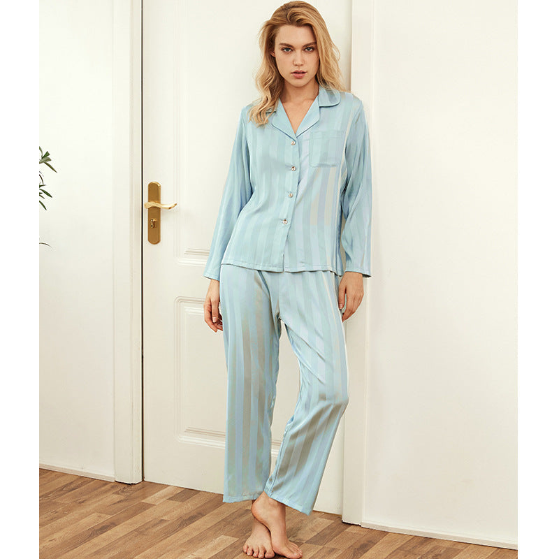 <b>Frozen Winters</b><br>satin long sleeve pajamas set for women striped EN1848