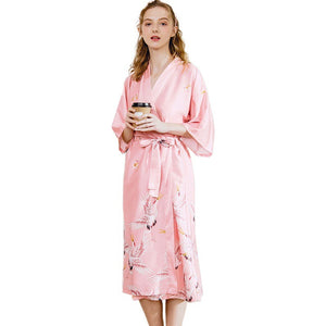 <b>Gentle Crane</b><br>satin robe for women EN580