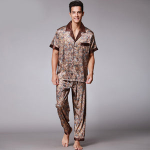 <b>Day Dream</b><br>satin short sleeve pajamas set flower dragon EN021