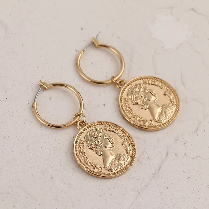 Roxi Earrings  Gold Coin Fashion Earrings Handmade Vintage Accessories