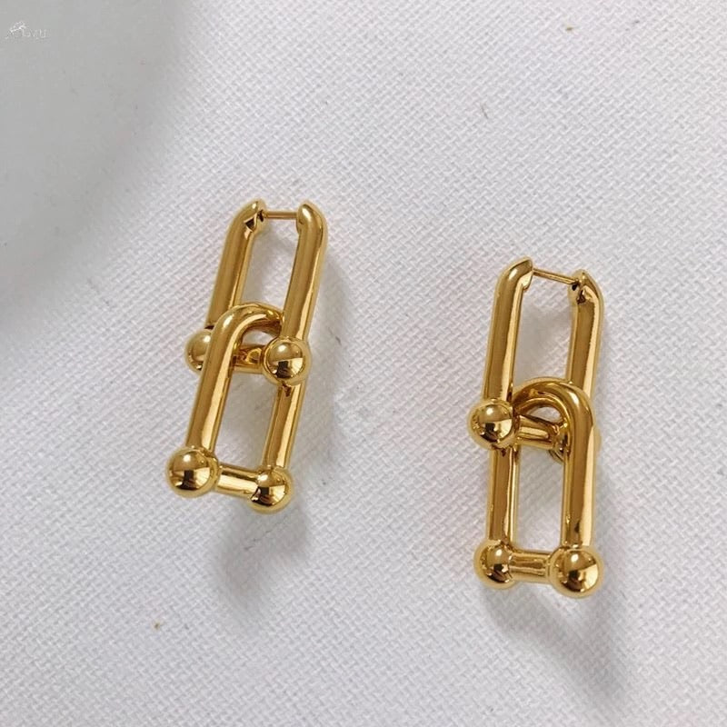 Giorgio Link Chain Hoop Earrings 18k gold vintage fashion