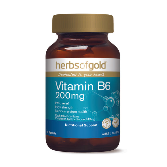HERBS OF GOLD Vitamin B6 200mg 60t