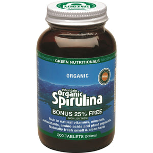 GREEN NUTRITIONALS Organic Mountain Spirulina 200t
