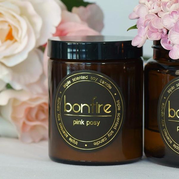 Bonfire Candle Co Pink Posy 150g Soy Scented Candle