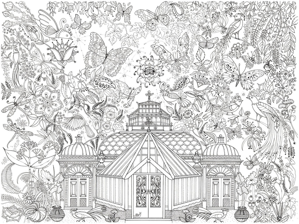 Garden glass house colouring poster Giant coloring books for adults