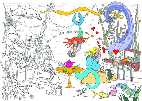 Mermaid Sea Adventure Colouring Poster