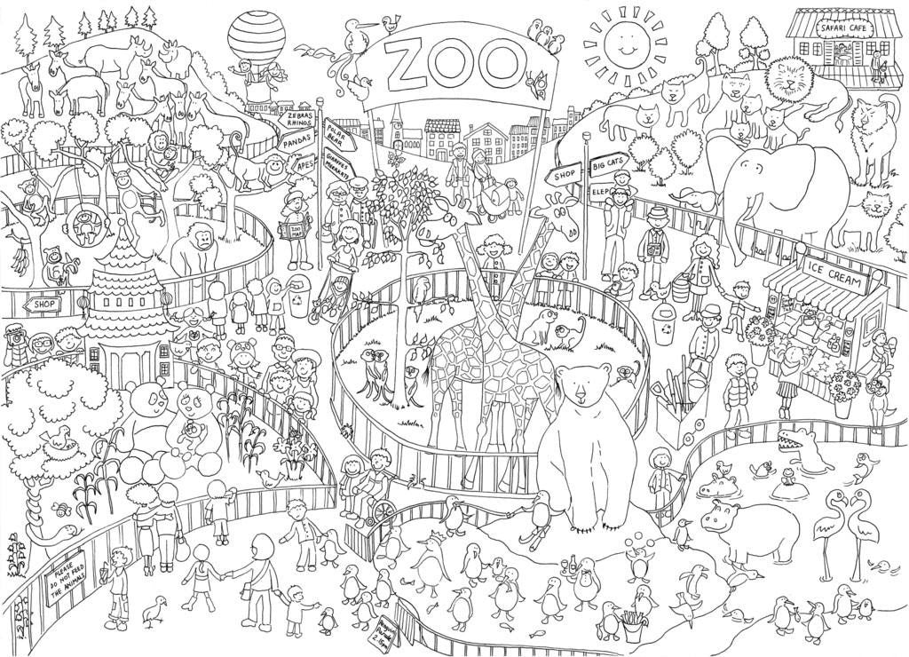 Zoo Colouring in Poster – ReallyGiantPosters.com